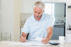 Concentrating man working out his finances Royalty Free Stock Image