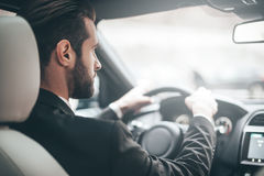 Concentrating on the road. stock photos