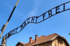 Concentration camp Auschwitz-Birkenau in Oswiecim, Poland. OSWIECIM, POLAND - MAY 12, 2016: Gate entrance to concentration camp Auschwitz with a sign Arbeit Stock Images