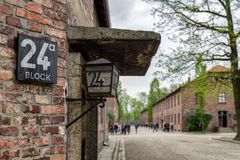 Concentration camp in Auschwitz I, Poland. OSWIECIM, POLAND - MAY 6:  Block 24 at concentration camp Auschwitz I on May 6, 2019 in Oswiecim royalty free stock photo