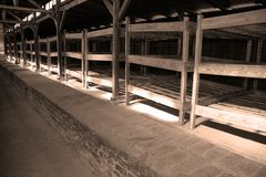 Concentration camp interior barrack Stock Images