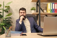 Concentration and focus. Man bearded boss sit office with laptop. Manager solving business problems. Businessman in. Charge of business solutions. Developing royalty free stock photo