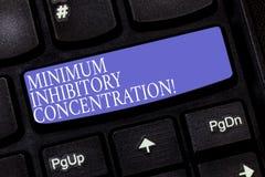 Concentration inhibitrice de minimum des textes d'écriture Concentration en signification de concept la plus basse d'une clé de c photo libre de droits