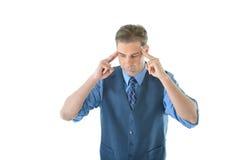 Concentrazione dell'uomo di affari Immagine Stock