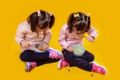 Concentreerde kleine zusters die melk met graangewassen van diepe kommen eten stock fotografie