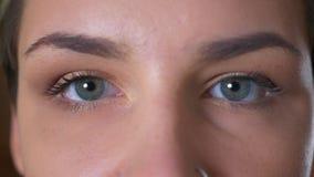 Concentreerden de close-up blauwe ogen zich van schitterend Kaukasisch wijfje die camera bekijken en rust stock footage