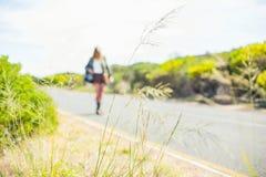 Concentrez sur la paille avec la marche blonde sur la route sur le fond Images stock
