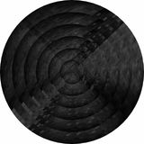 Concentric black circles in mosaic. Illustration, Black button in mosaic style royalty free illustration