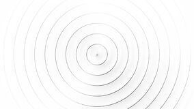 Concentric black rings moving on the white background