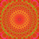 Concentric circle ornament red orange yellow green Royalty Free Stock Images