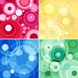 Concentric circles. Collage of four illustrations of concentric circles in four different colour scales stock illustration