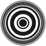 Concentric circles abstract circular pattern. Geometric monochrome pattern with radial / radiating circles, rings. Royalty free vector illustration stock illustration