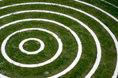 Concentric circles. With dandelions and weeds overgrowing the terrain Royalty Free Stock Image