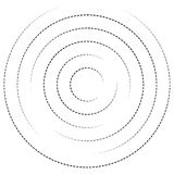 Concentric circles with dashed lines. Circular spiral element. Royalty free vector illustration stock illustration