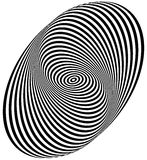 Concentric circles forming a spiral. Ovals, ellipses pattern. Royalty free vector illustration royalty free illustration