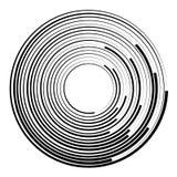 Concentric circles geometric element. Radial, radiating circular. Graphic royalty free illustration