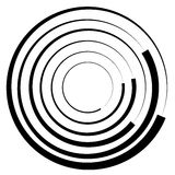 Concentric circles geometric element. Radial, radiating circular. Graphic royalty free illustration