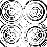 Concentric circles monochrome abstract background. radiating cir. Cles, rings. - Royalty free vector illustration stock illustration