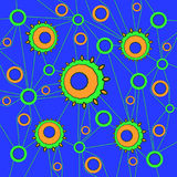 Concentric circles pattern blue orange green connected with green lines Royalty Free Stock Images