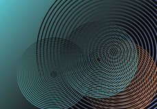 Concentric circles pattern. Bluish gradient surface background with intersected concentric circles, realistic style geometric composition Stock Image
