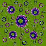 Concentric circles pattern in purple shades connected with purple lines on olive green. Abstract geometric background. Concentric circles pattern in purple Royalty Free Stock Images