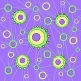 Concentric circles pattern in purple shades connected with purple lines on olive green. Abstract geometric background. Various concentric circles pattern yellow stock illustration