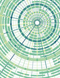 Concentric circles with radial divider background. Background in green with concentric circles and radial dividers. Each grouping of top and bottom circles and Stock Images