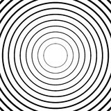 Concentric circles, radial lines patterns. Monochrome abstract. Elements - Royalty free vector illustration Stock Image