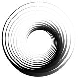 Concentric circles. Radiating, radial circles monochrome abstract element. Rotating, spiral, vortex element. Spirally circular sh. Ape. - Royalty free vector royalty free illustration