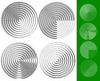 Concentric circles, rings geometric element. Set of 4 version. Royalty free vector illustration stock illustration