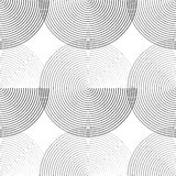 Concentric circles seamless monochrome pattern. Abstract geometr. Y background - Royalty free vector illustration Stock Photo