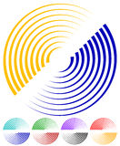 Concentric circles, signal, spiral shapes. More colors included. Stock Photos