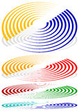 Concentric circles, signal, spiral shapes. More colors included. Royalty Free Stock Photos