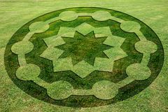 Concentric circles and stars symbols fake crop circle meadow. Concentric circles and stars symbols fake crop circle in the meadow royalty free illustration