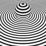 Concentric circles with striped sphere. Vector backdrop Royalty Free Stock Photo