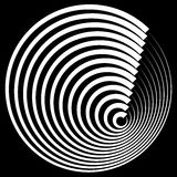 Concentric circles with stroke profile abstract element. Royalty Free Stock Images