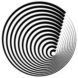 Concentric circles with stroke profile abstract element. Royalty Free Stock Photos