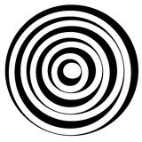 Concentric circles w dynamic irregular line. monochrome abstract. Spiral, ripple element - Royalty free vector illustration stock illustration