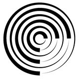 Concentric circles w dynamic irregular line. monochrome abstract. Spiral, ripple element - Royalty free vector illustration vector illustration
