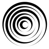 Concentric circles w dynamic irregular line. monochrome abstract. Spiral, ripple element - Royalty free vector illustration royalty free illustration