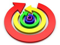 Concentric circular colored arrows in opposite directions alternately 3D Illustration. 3D Illustraton of concentric circular colored arrows in opposite stock illustration