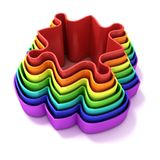 Concentric colorful jigsaw puzzle outlined pieces Royalty Free Stock Image
