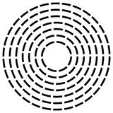 Concentric dashed line circles - Abstract geometric element on w Stock Image