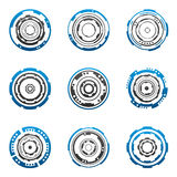 Concentric gear shapes. Mechanical tech gear shapes in blue and gray Stock Image