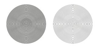 Concentric geometric circles. Vector concentric geometric circles with lines 2 mm apart - two very thin circles with different thicknesses Stock Photos