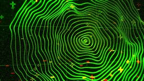 Concentric green rings moving on the black screen background. Animation. Abstract radar or sonar program, wavy neon