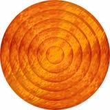 Concentric orange circles in mosaic. Illustration, Orange button in mosaic style stock illustration