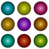 Concentric pipe shape in multiple colors over white Stock Images