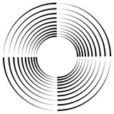 Concentric, radial circles circular element. abstract black and. White design - Royalty free vector illustration stock illustration