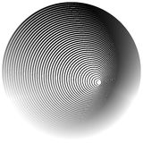 Concentric radial, radiating circles - Abstract monochrome geome. Tric element - Royalty free vector illustration stock illustration
